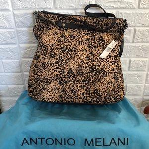 NWT Antonio Melani cheetah haircalf chain hobo